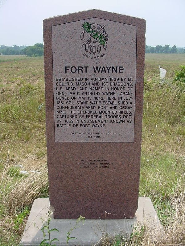 Col. Stand Watie established a Confederate army post and organized the Cherokee Mounted Rifles in the Battle of Old Fort Wayne.