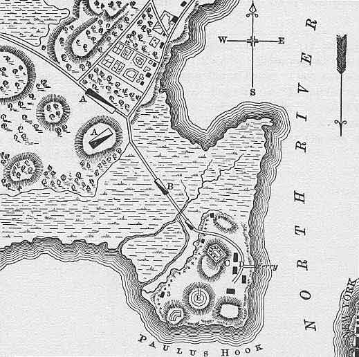 A map of colonial Paulus Hook.