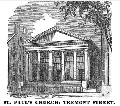 St Paul Cathedral Church 1851 (Homans. Sketches of Boston, Past and Present)