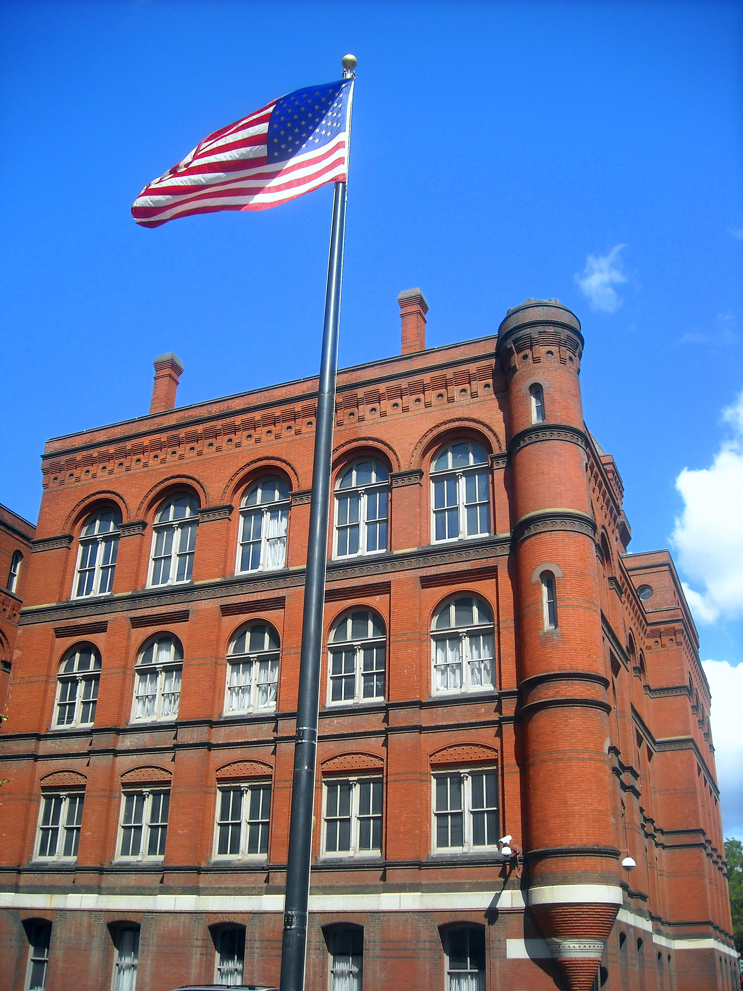 A view of the building's red brick facade.