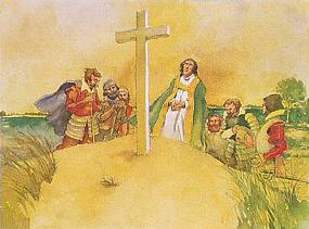 Water color photo of Reverent Hunt who is leading a prayer at the wooden cross of Cape Henry
