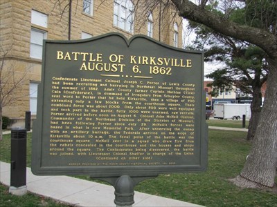 Marker at the Adair County Courthouse giving the history of the Battle of Kirksville.