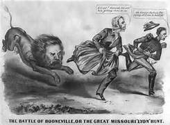 An artist's rendition of Lyon's fight for Boonville and Missouri.