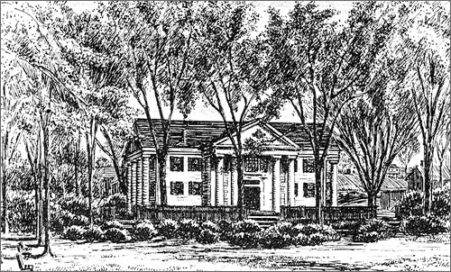 Historic sketch of Village Hall (image from Framingham Historical Society)