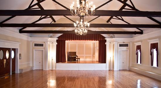 Village Hall interior, ballroom (image from Framingham Historical Society)