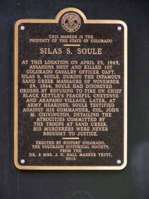 This historical marker was dedicated by the Colorado Historical Society in 2010 and can be found on one of the black pillars supporting the building
