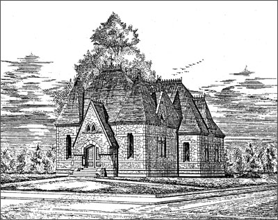 Historical sketch of the library (image from Framingham Historical Society)