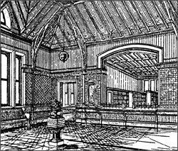 Interior sketch of the library (image from Framingham Historical Society)