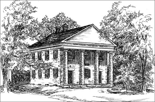 Historic sketch of the Old Academy (image from Framingham Historical Society)