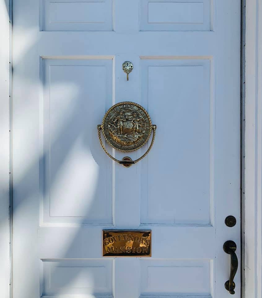 Front Door of the Governor's Mansion; Bronze Knocker Designed after WV State Seal