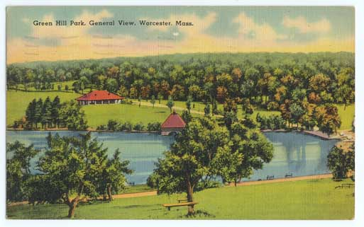 Historic postcard of the park (image from WorcesterMass.com)
