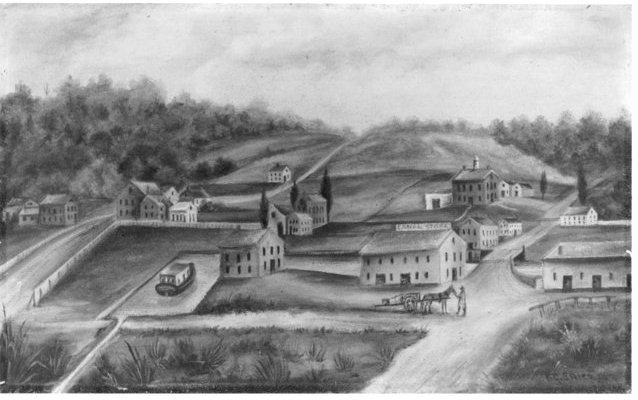 Drawing of the Blackstone Canal District, c. 1835 (image from the National Parks Service)