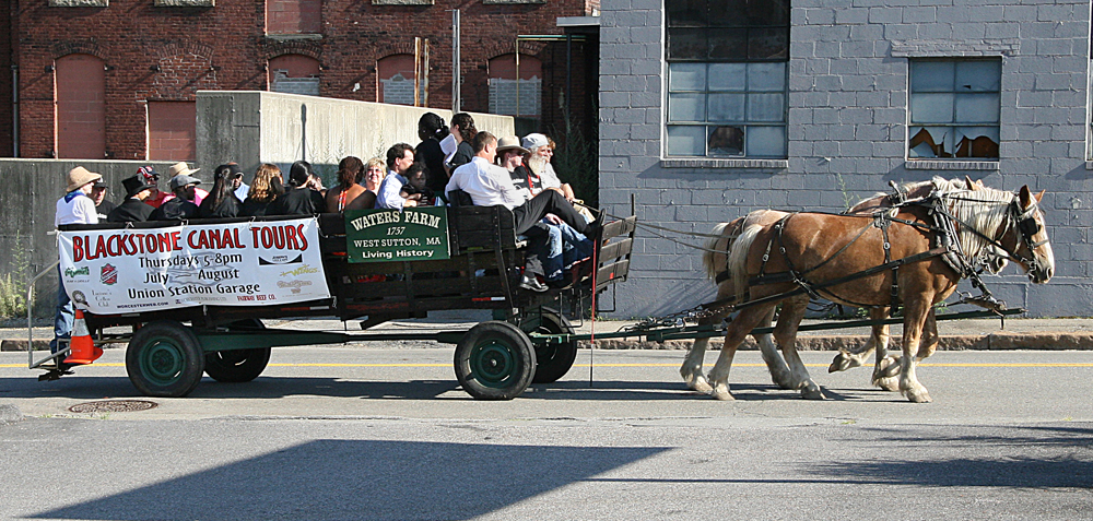 Horse and wagon tour of the Canal District (image from Worcester Diversions)
