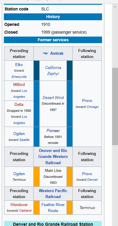 Train Schedule for the Rio Grande Depot