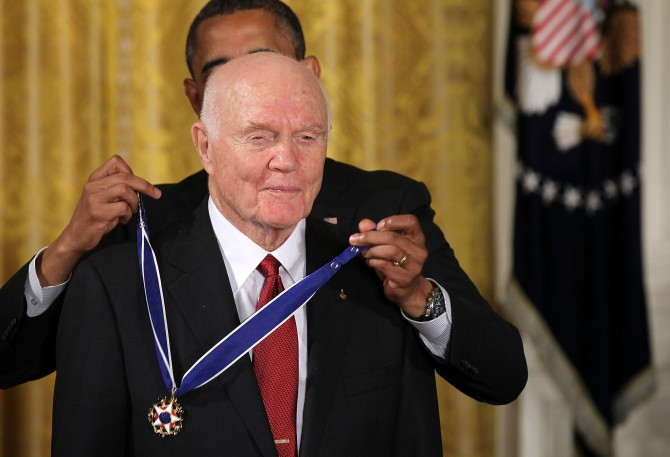 President Obama giving Glenn the Presidential Medal of Freedom in 2012