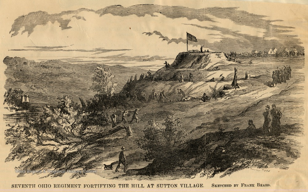 The Seventh Ohio Regiment fortifying the hill at Sutton during the Civil War.