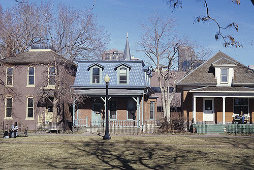 A few of the historic homes that line the Ninth Street Historic Park.