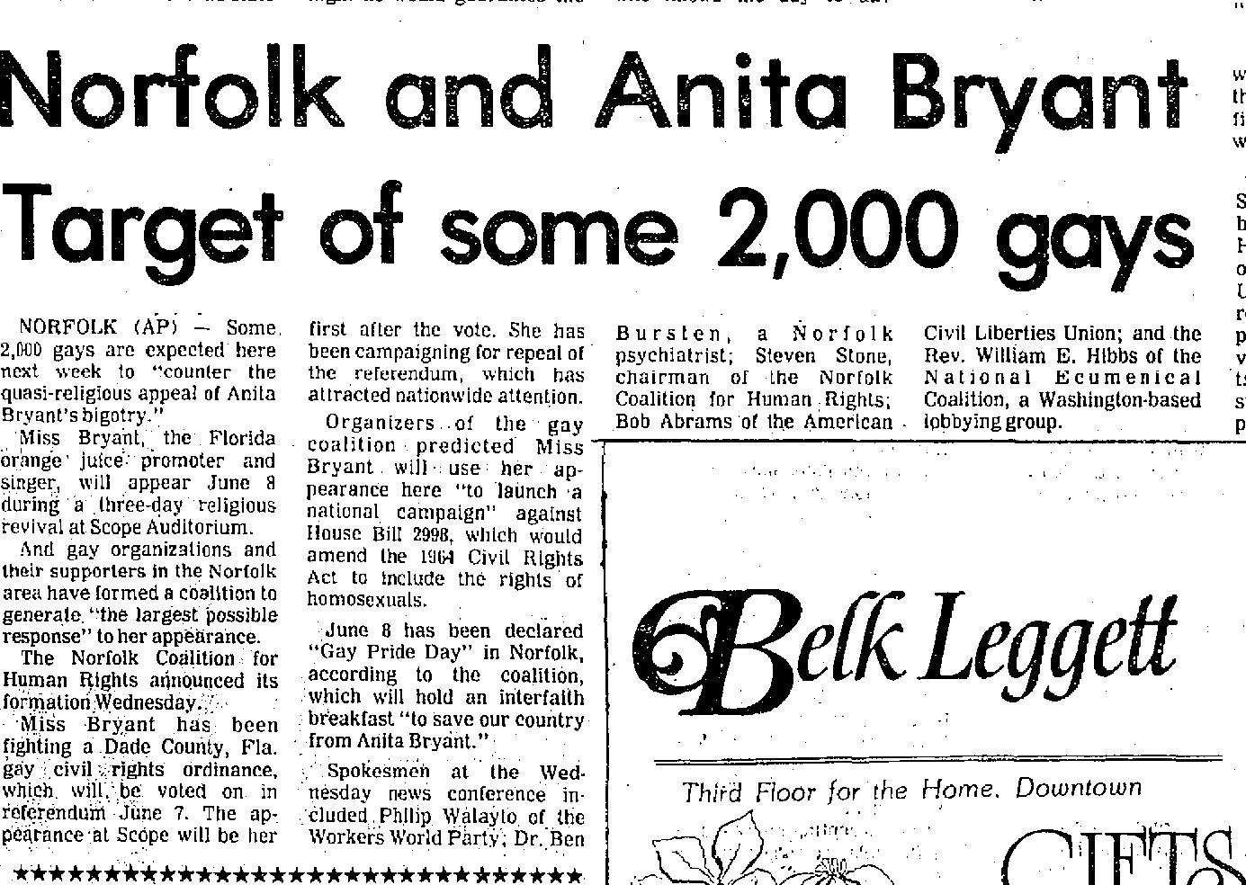 Danville Bee June 2, 1977. Opponents of gay rights warned that the Norfolk protesters hoped to expand the 1964 Civil Rights Bill to include protections for the civil rights of homosexuals.