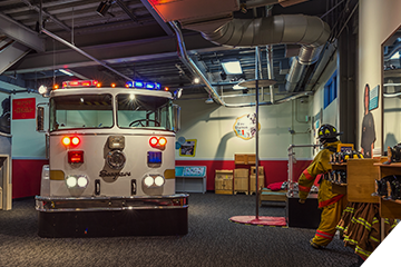 Fire Station No. 1 exhibit (image from Children's Museum of Denver)