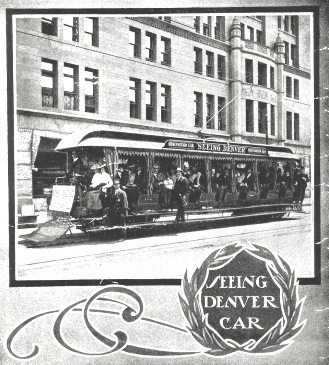 1906 Denver Tramway sightseeing tour at the Brown Palace Hotel (image from Colorado Railroad Museum)