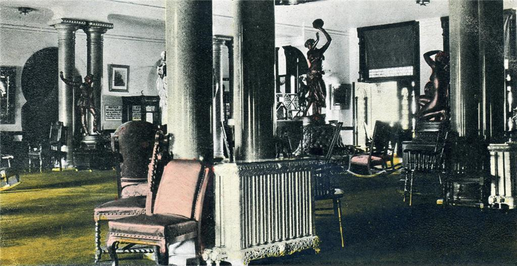 Retouched photo with color of the Sitting Room and Rotunda. Circa 1904