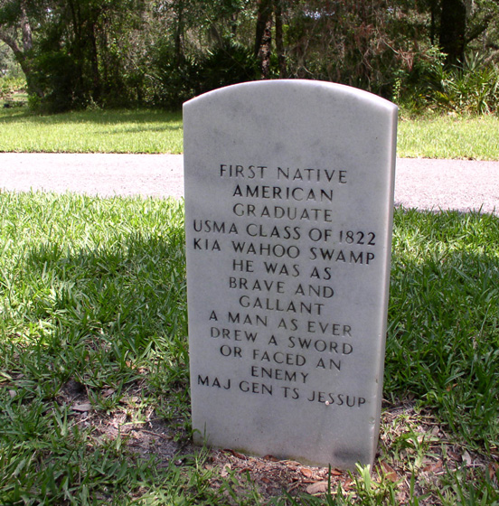 Back of Moniac's Headstone