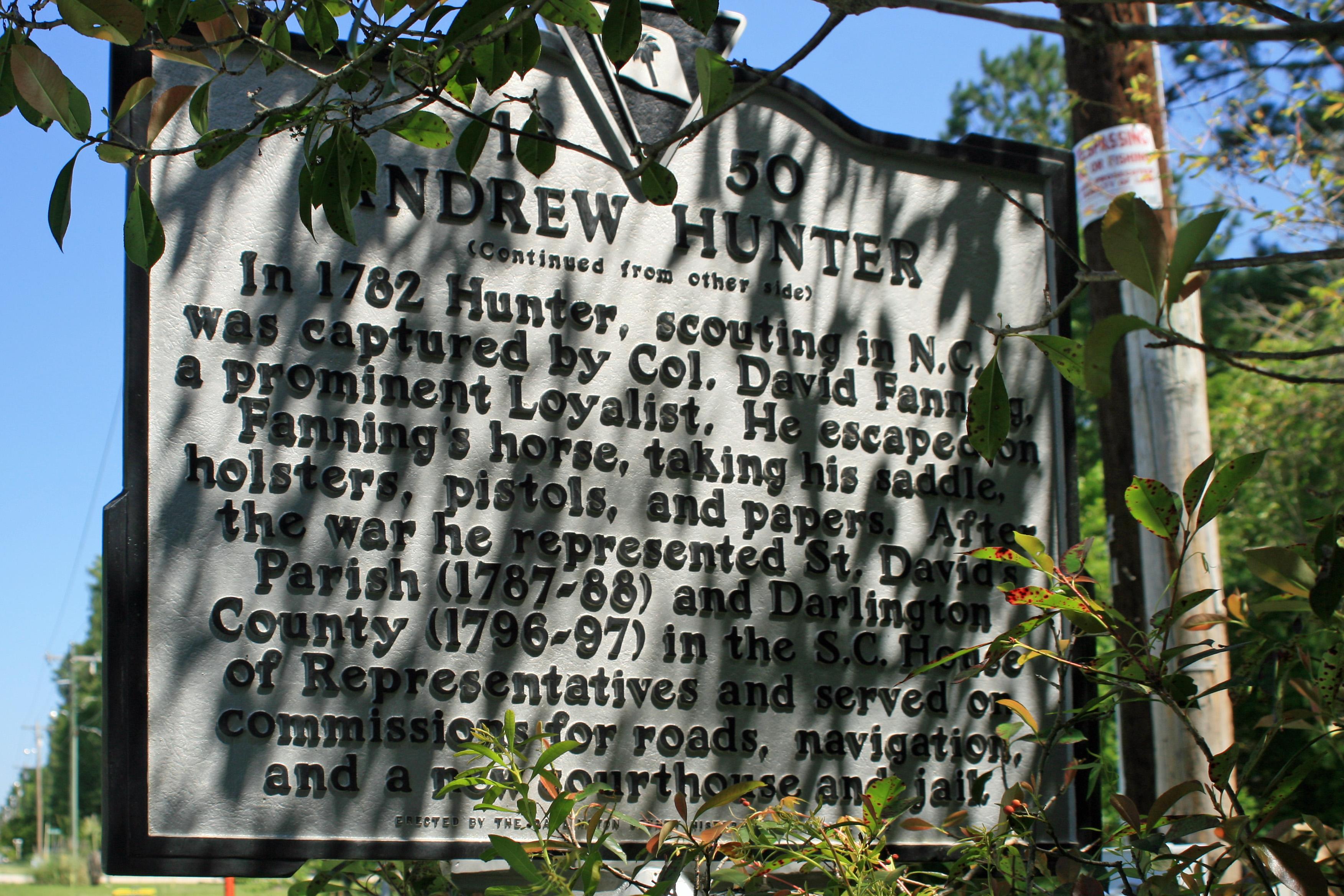 Historical Marker for Andrew Hunter.