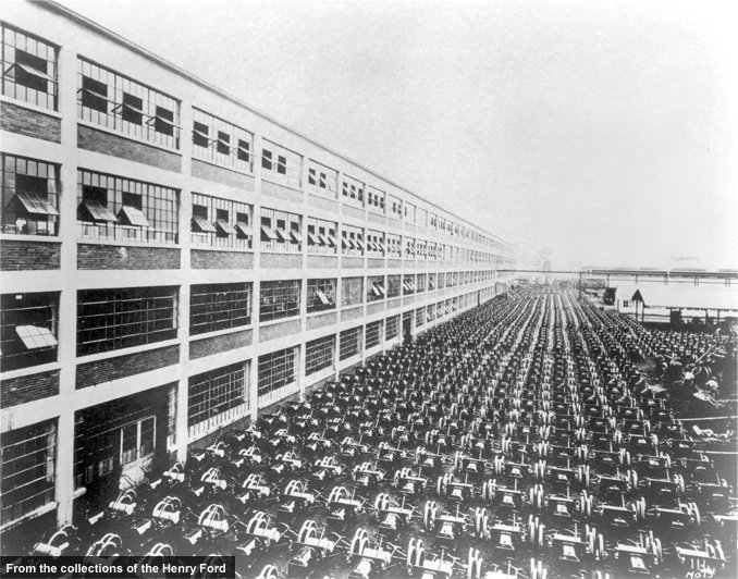 One day's worth of cars assembled at the Highland Park plant