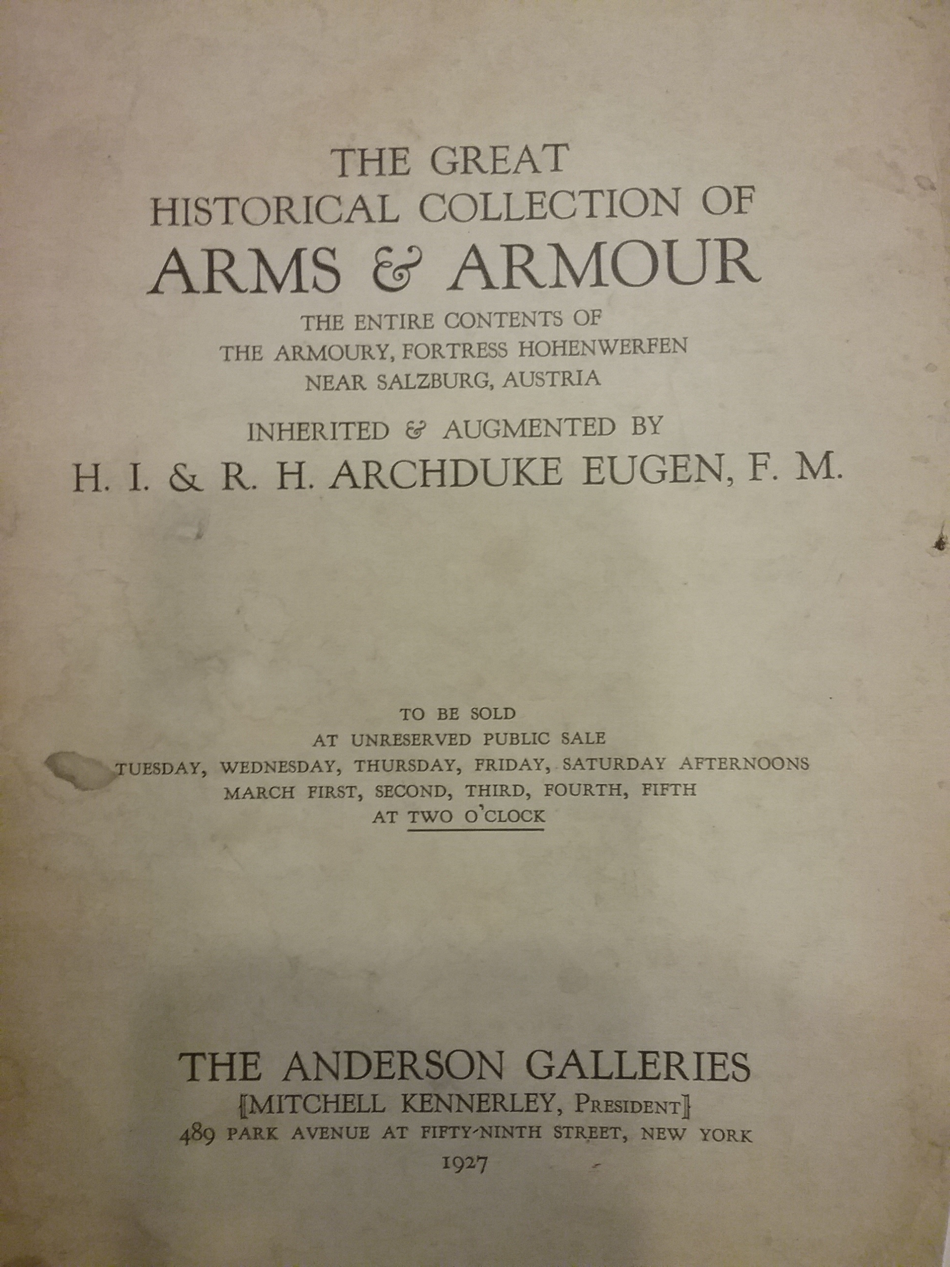 An early art auction catalog from the HMA collection
