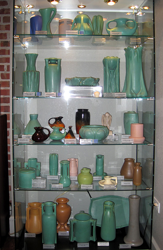 A display of Teco ceramics (image from the Kirkland Museum)