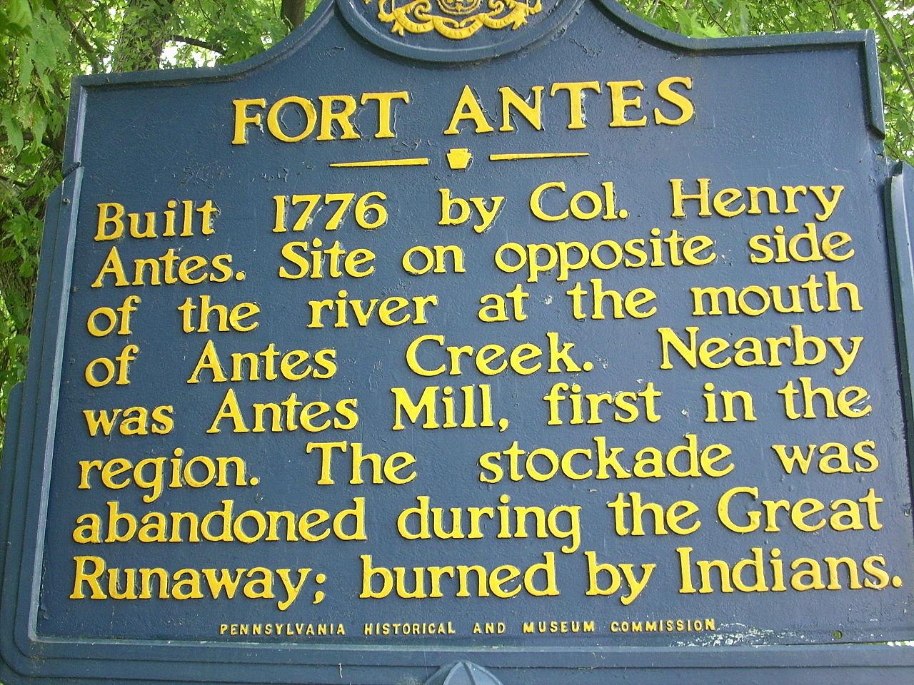 Fort Antes historical marker