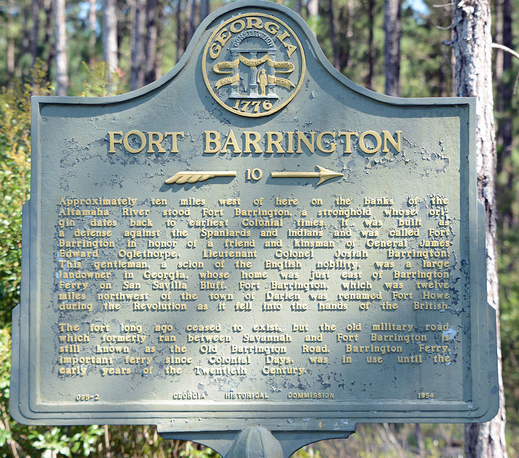 The historical marker for Fort Barrington