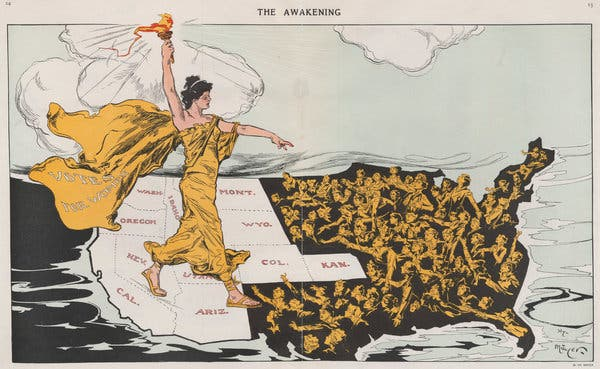 "Illustration shows a torch-bearing female labeled ""Votes for Women"", symbolizing the awakening of the nation's women to the desire for suffrage, striding across the western states, where women already had the right to vote, toward the east where women are reaching out to her. Printed below the cartoon is a poem by Alice Duer Miller."