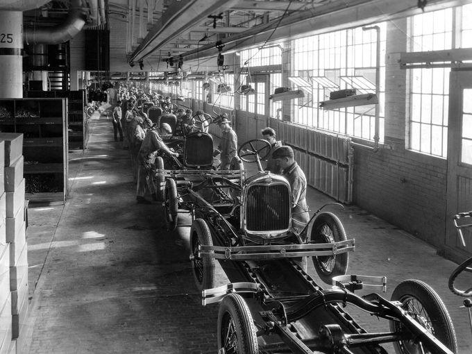 The assembly line inside the plant