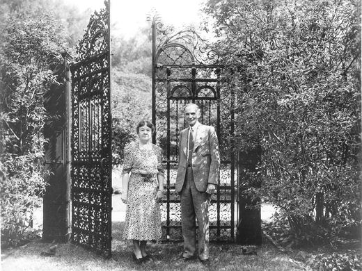 Henry and Clara Ford in the estate gardens