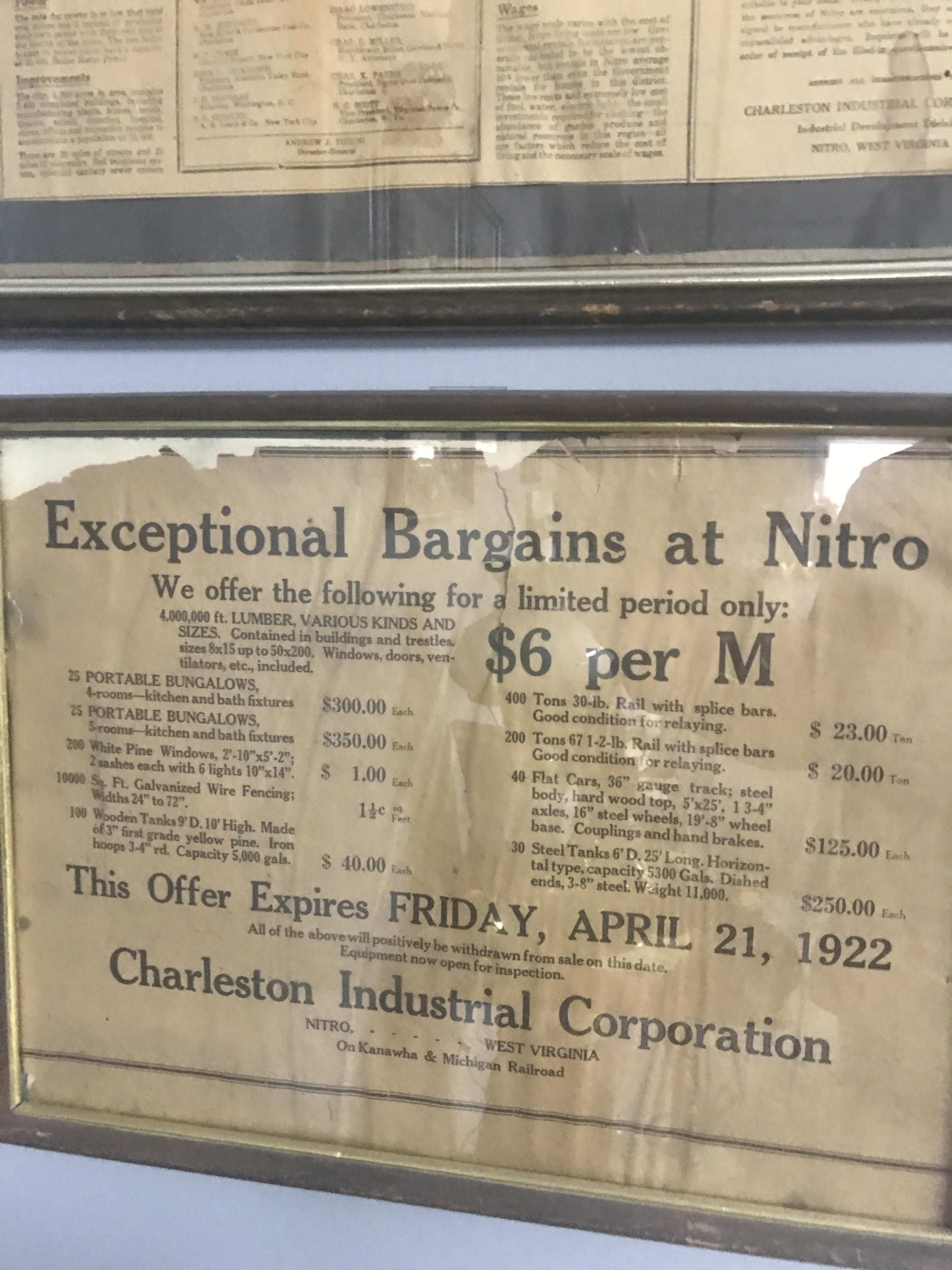 Ad for the selling of homes in Nitro, WV