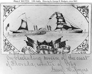 Sketch of the USS Adela, one of two Union ships that bombarded Fort Brooke
