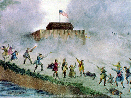 Depiction of one of the Seminole attacks on the fort