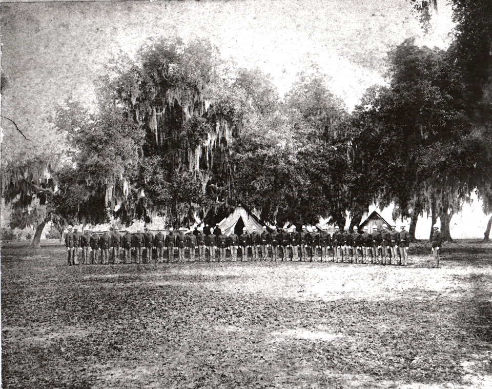 1870s-early 1880s photo of troops stationed at Fort Brooke