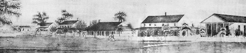 Pencil sketch of Captain's Quarters in 1845