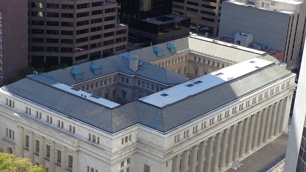 Overhead shot of the courthouse.