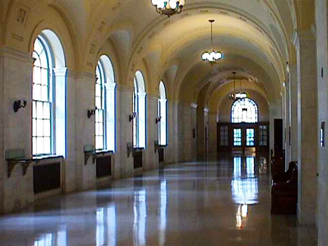 One of the main hallways within the courthouse