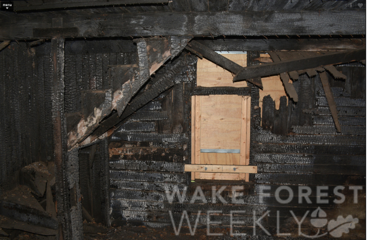 Inside of the house; Depicts the fire that burned a section of the house (4).  Source: Wake Weekly (goo.gl/GFBYBt)