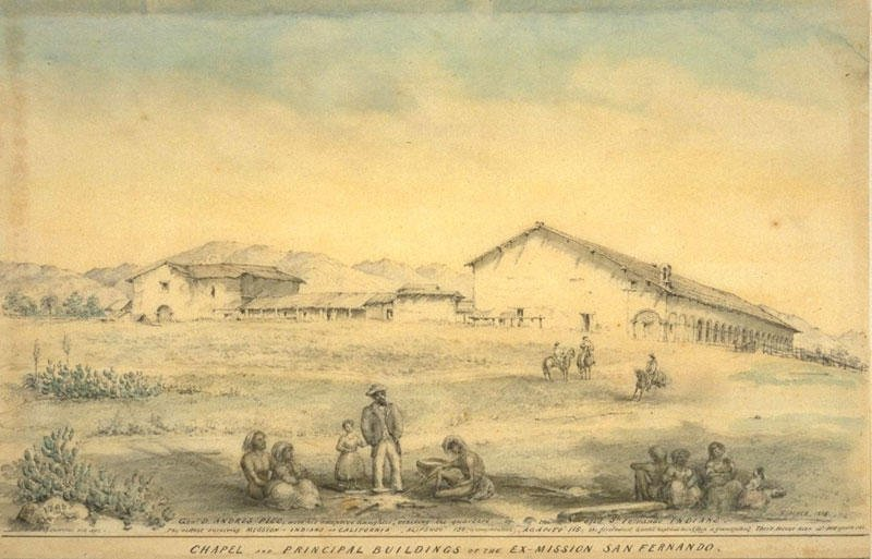 A sketch of San Fernando in the 1860s-70s by Edward Vischer, a German immigrant to Mexico whose prolific portraits of California life have been invaluable to scholars. Courtesy of the Claremont Colleges.