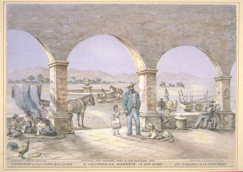 Vischer's drawing of the Mission after its confiscation by Governor Pio Pico, who made personal use of the grounds before selling the property. Courtesy of the Claremont Colleges.