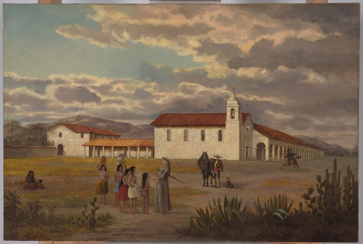A painting of Mission San Fernando by Oriana Weatherby Day, made sometime between 1877 and 1884.