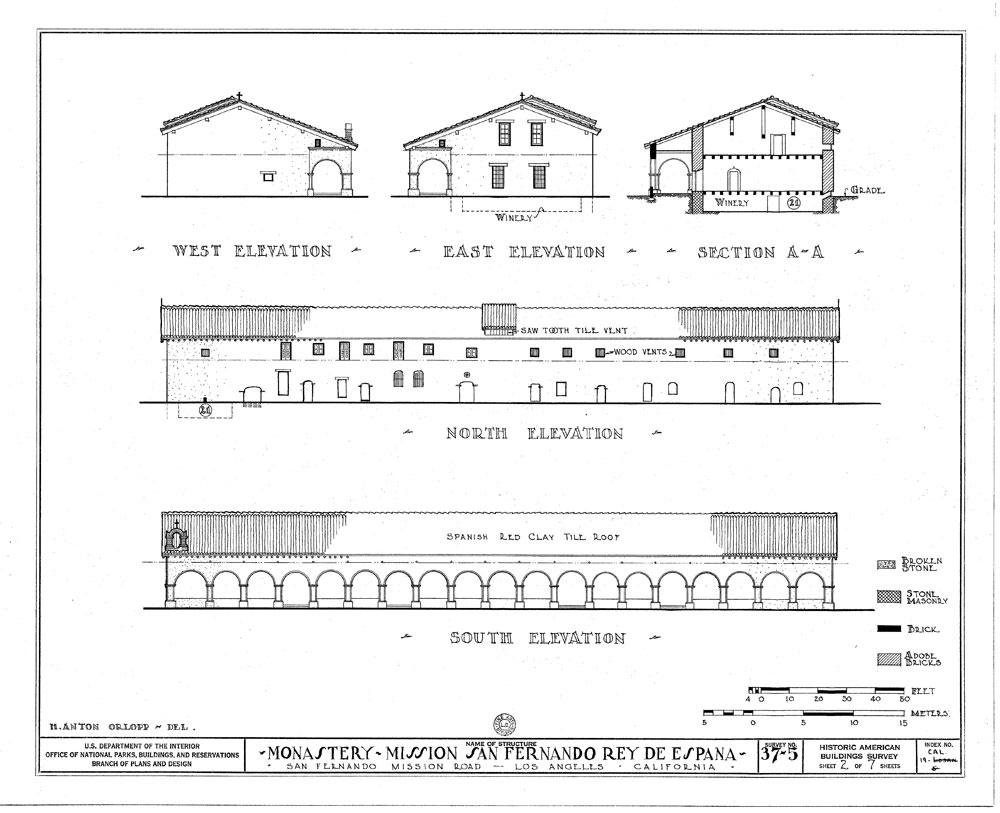 US Department of the Interior elevation drawings of the Mission.