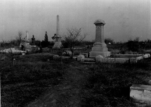 Historic photo of Mount Prospect Hill Cemetery, where Cheesman Park stands today (image from the Denver Public Library)