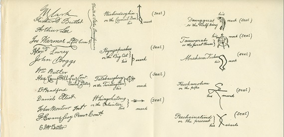 Traced signatures of the original Treaty of Fort McIntosh, now in the Pennsylvania State Library in Harrisburg