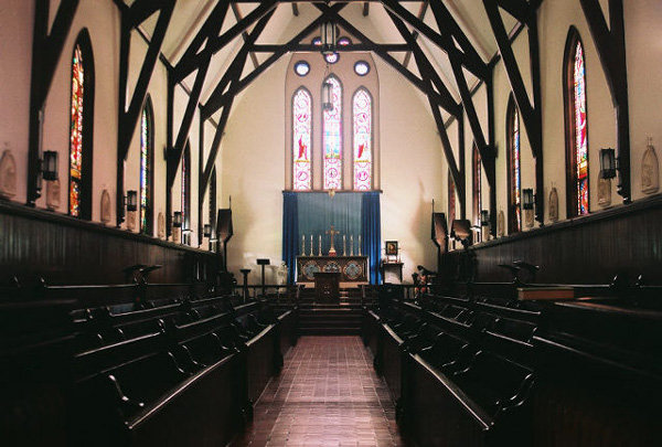 An interior view of St. John's Chapel, now part of the DeKoven Center